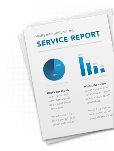 An illustration of a Verify International service report